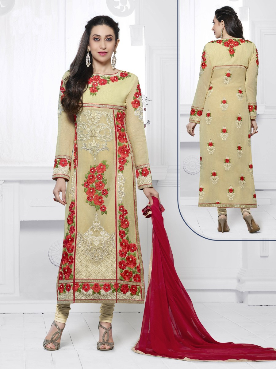 Buy THANKAR BEIGE & RED EMBROIDERED FAUX GEORGETTE STRAIGHT SUIT Online
