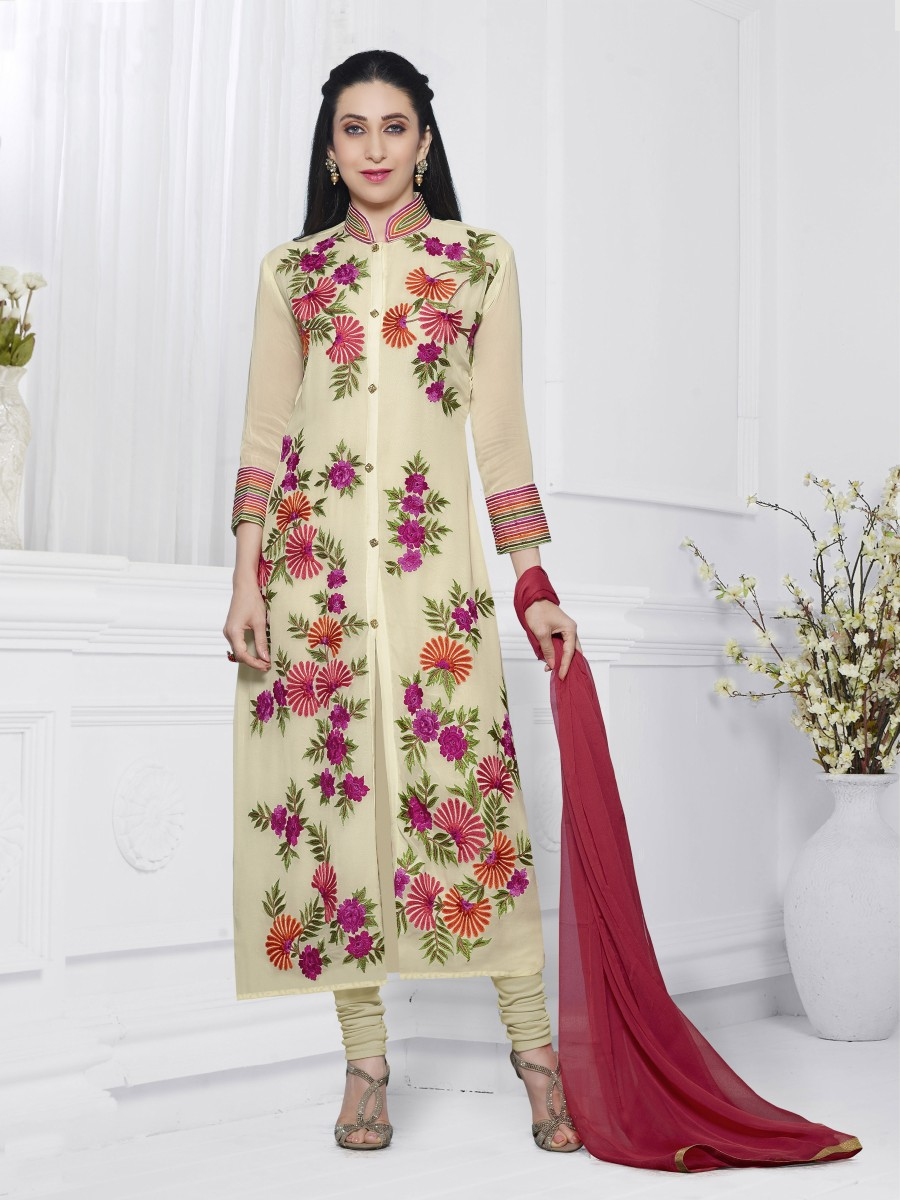Buy THANKAR OFF WHITE & RED EMBROIDERED FAUX GEORGETTE STRAIGHT SUIT Online