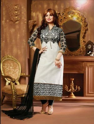 Buy THANKAR BLACK AND WHITE COTTON STRAIGHT SUIT Online