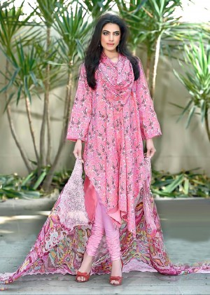 Buy THANKAR Pink Printed Cotton Dress Material Online