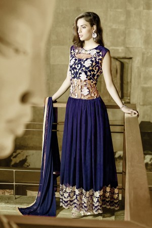 Buy THANKAR NAVY BLUE GEORGETTE PARTYWEAR GOWN Online