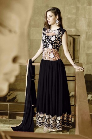 Buy THANKAR BLACK GEORGETTE PARTYWEAR GOWN Online