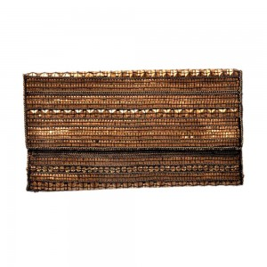 Buy DIWAAH!! HAND CRAFTED BROWN SEQUENCE COTTON CLUTCH  Online