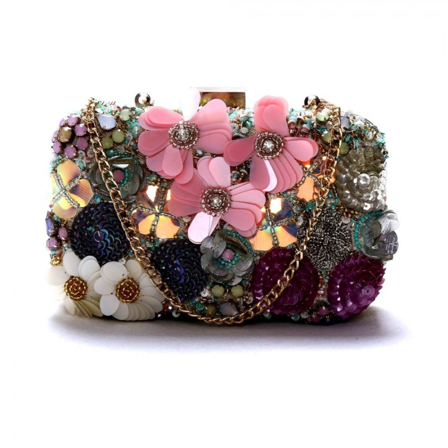 Buy DIWAAH!! HAND CRAFTED MULTI EMBROIDERED BOX CLUTCH  Online