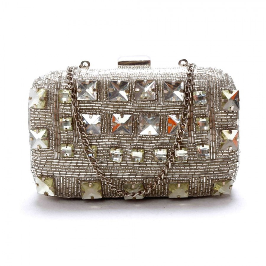 Buy DIWAAH!! HAND CRAFTED WHITE EMBELLISHED BOX CLUTCH  Online