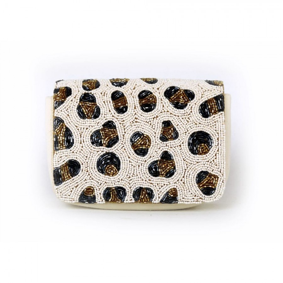 Buy DIWAAH!! HAND CRAFTED WHITE VERTICAL SEQUENCED BOX CLUTCH  Online