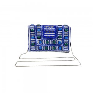 Buy DIWAAH!! BLUE STONE EMBRODERY HIGH EMBELISHED CLUTCH BAG.  Online