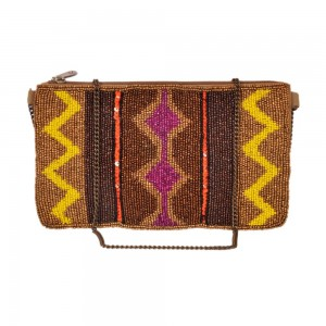 Buy DIWAAH!! HAND CRAFTED MULTI EMBROIDERED ZIP TOP CLUTCH  Online