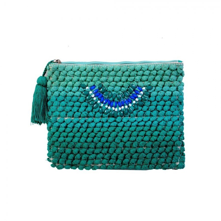 Buy DIWAAH!! GREEN POM POM BEAUTIFUL EMBROIDERY POUCH.  Online