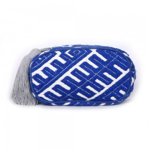 Buy DIWAAH!! HAND CRAFTED BLUE EMBROIDERED ZIP TOP POUCH  Online