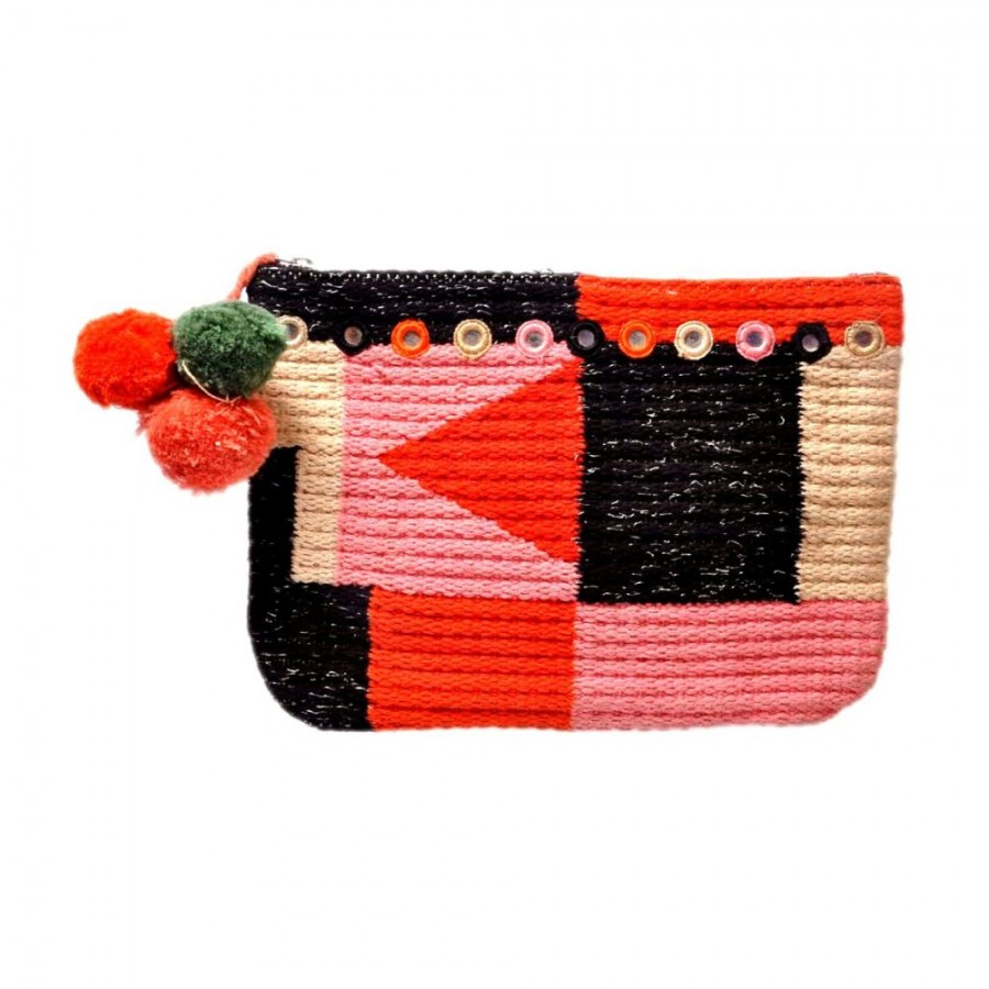 Buy DIWAAH!! HAND CRAFTED MULTICOLOR RUG POM POM POUCH  Online