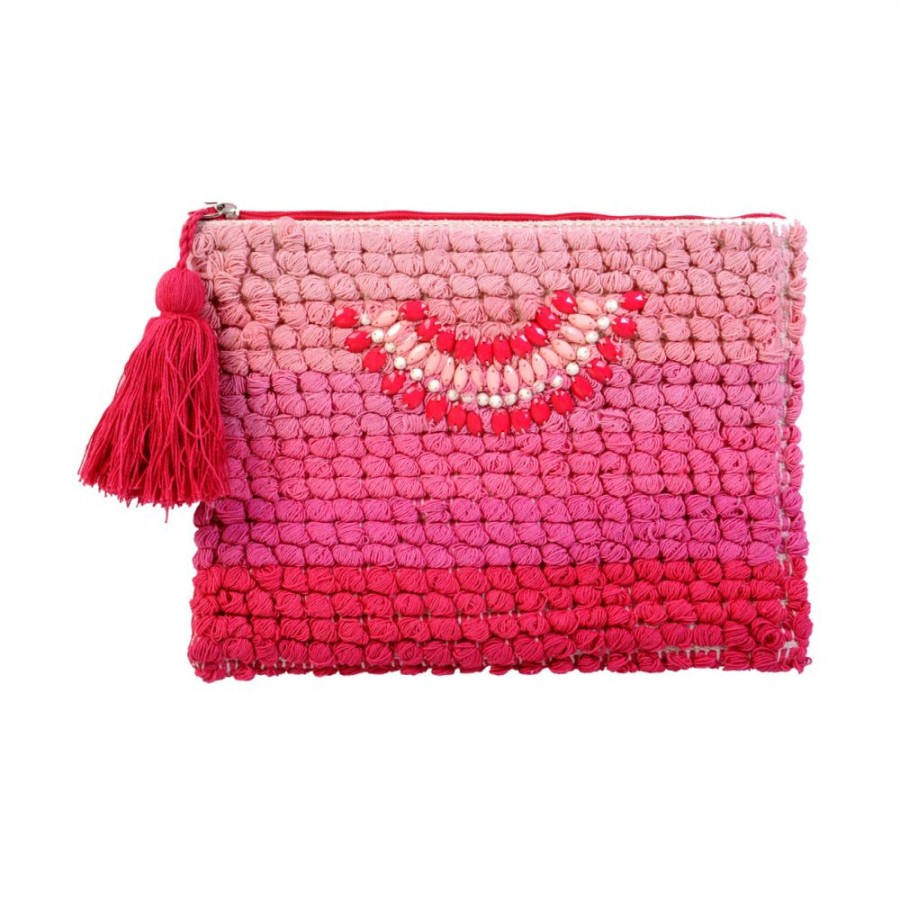 Buy DIWAAH!! PINK POM POM BEAUTIFUL EMBROIDERY POUCH.  Online