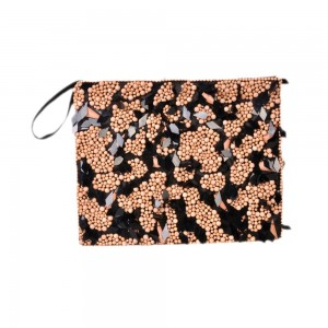 Buy DIWAAH!! BLACK BEIGE BEADED GEOURGES LADY HAND POUCH.  Online