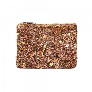 Buy DIWAAH!! HAND CRAFTED GOLDEN EMBROIDERED ZIP TOP POUCH  Online