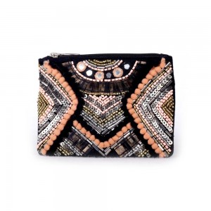Buy DIWAAH!! HAND CRAFTED MULTI EMBROIDERED ZIP TOP POUCH  Online