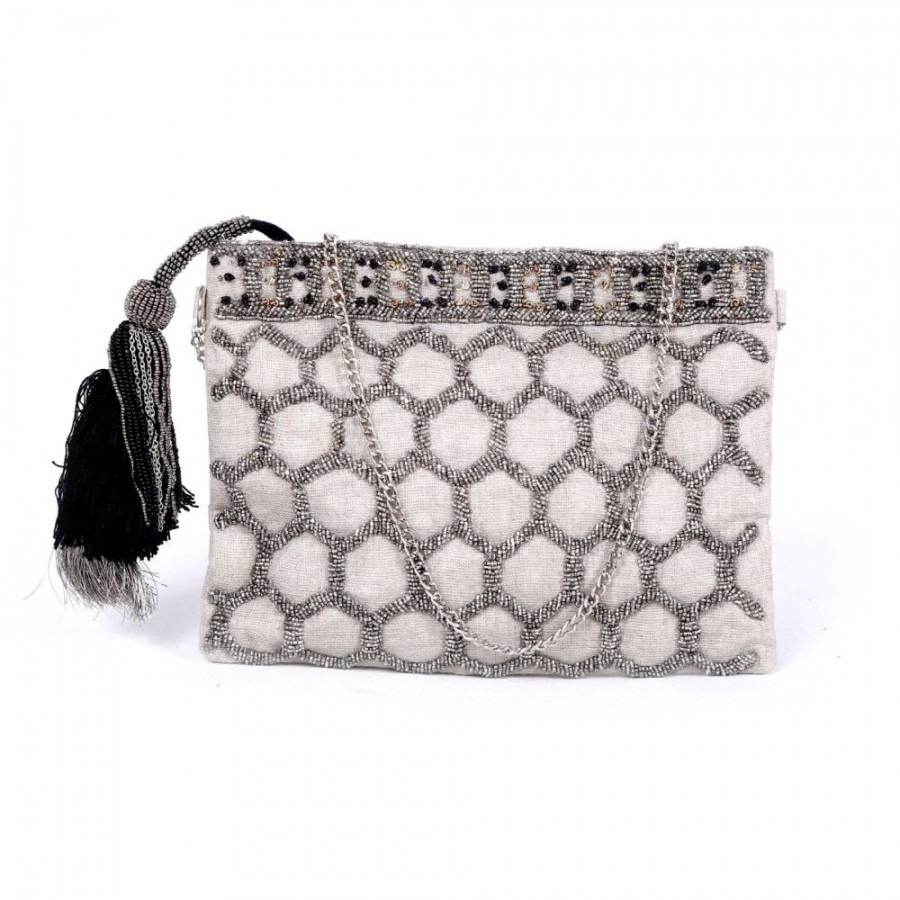 Buy DIWAAH!! HAND EMBROIDERED WHITECOLOR BEADED POUCH  Online