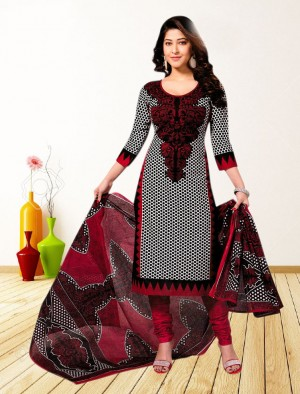 Buy THANKAR RED AND BLACK PRINTED POLYCOTTON  DRESS MATEIRIAL  Online