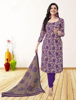 Buy THANKAR PURPLE AND BEIGE PRINTED POLYCOTTON  DRESS MATEIRIAL  Online