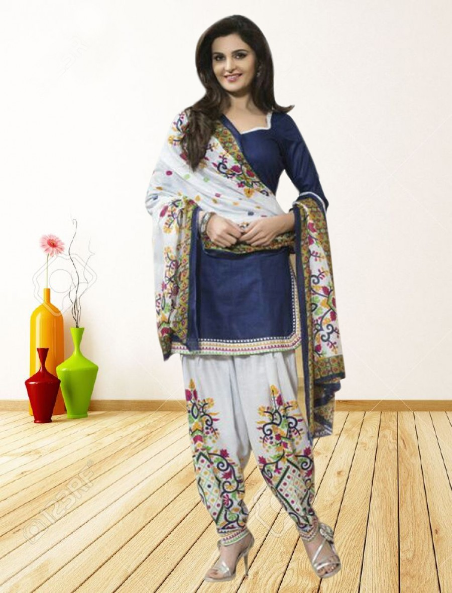 Buy THANKAR NAVY BLUE AND WHITE PRINTED POLYCOTTON  DRESS MATEIRIAL  Online