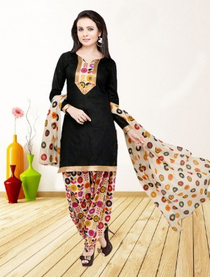 Buy THANKAR BLACK AND MULTY PRINTED POLYCOTTON  DRESS MATEIRIAL  Online