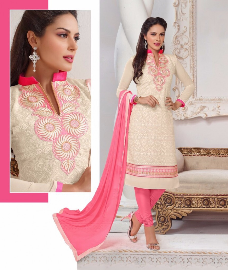 Buy THANKAR CREAM AND PINK EMBROIDERED COTTON DRESS MATEIRIAL  Online
