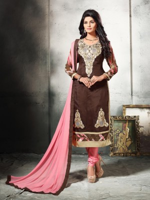 Buy THANKAR BROWN AND LIGHT PINK EMBROIDERED COTTON DRESS MATEIRIAL  Online
