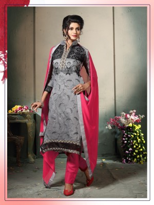 Buy THANKAR GREY AND PINK EMBROIDERED COTTON DRESS MATEIRIAL  Online