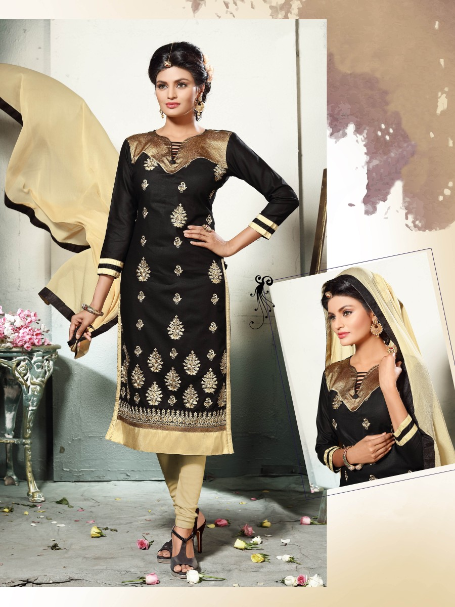 Buy THANKAR BLACK AND CREAM EMBROIDERED COTTON DRESS MATEIRIAL  Online