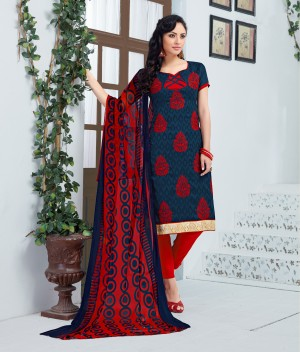 Buy THANKAR RED AND NAVY BLUE EMBROIDERED COTTON JEQUARD DRESS MATEIRIAL  Online