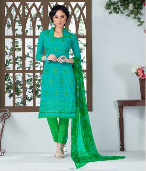 Buy THANKAR AQUA AND GREEN EMBROIDERED COTTON JEQUARD DRESS MATEIRIAL  Online