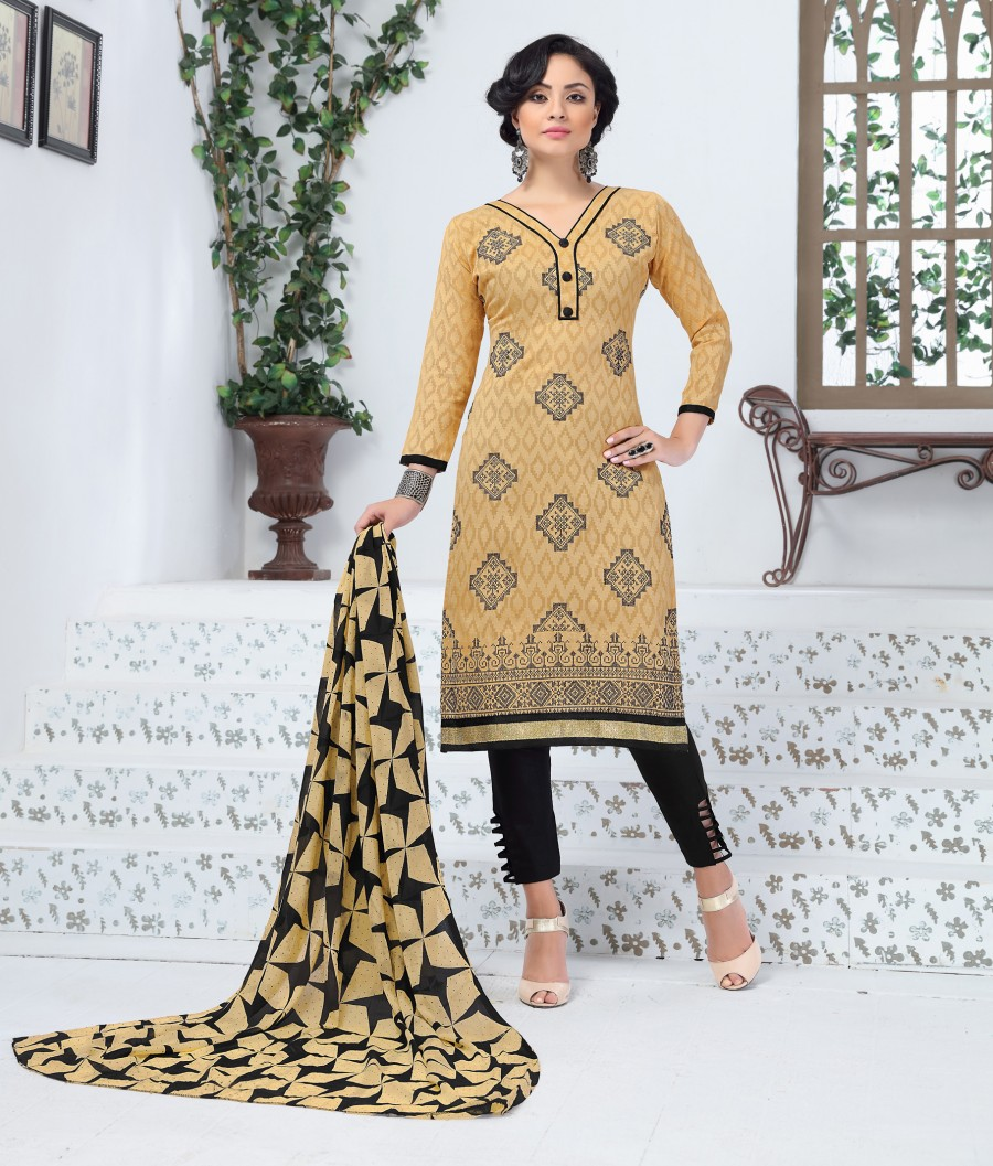 Buy THANKAR BEIGE AND BLACK EMBROIDERED COTTON JEQUARD DRESS MATEIRIAL  Online