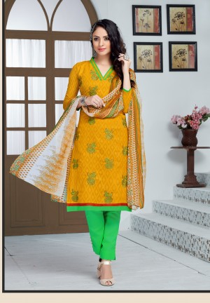 Buy THANKAR YELLOW AND GREEN EMBROIDERED COTTON JEQUARD DRESS MATEIRIAL  Online