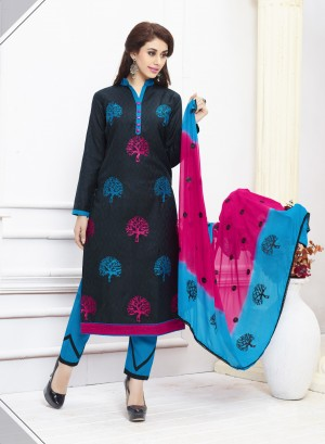 Buy THANKAR BLACK AND SKY EMBROIDERED COTTON DRESS MATEIRIAL  Online