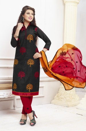 Buy THANKAR BLACK AND RED EMBROIDERED COTTON DRESS MATEIRIAL  Online