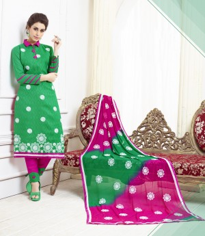 Buy THANKAR GREEN AND PINK EMBROIDERED COTTON DRESS MATEIRIAL  Online