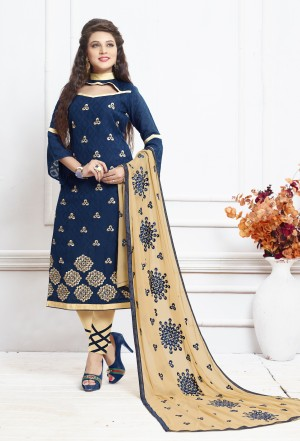 Buy THANKAR NAVY AND CREAM EMBROIDERED COTTON DRESS MATEIRIAL  Online