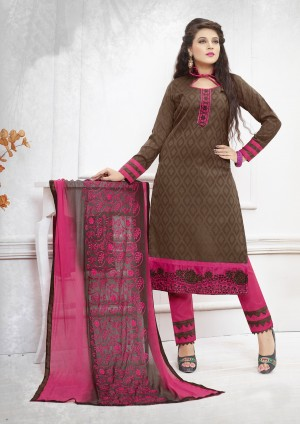 Buy THANKAR BROWN AND PINK EMBROIDERED COTTON DRESS MATEIRIAL  Online