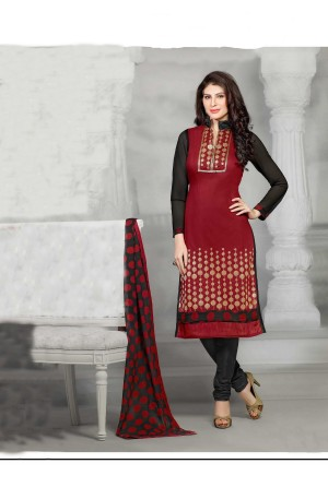 Buy THANKAR Maroon Embroidery Chanderi Cotton Dress Material Online