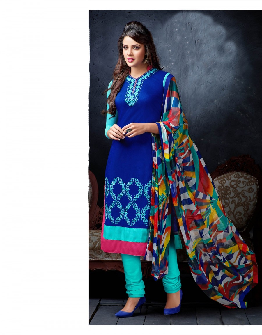 Buy THANKAR Blue & Sky Embroidery Chanderi Cotton Dress Material Online