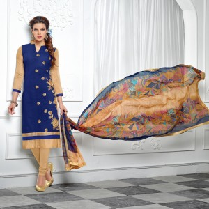 Buy THANKAR NavyBlue & Beige Embroidery Chanderi Cotton Dress Material Online
