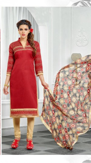 Buy THANKAR Red & Beige Embroidery Chanderi Cotton Dress Material Online