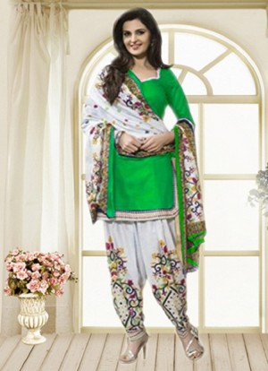 Buy THANKAR Green & Off White Printed Polly Cotton Dress Material Online