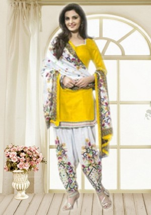 Buy THANKAR Yellow & Off White Printed Polly Cotton Dress Material Online