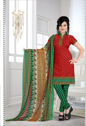 Buy THANKAR Red & Green Printed Crepe Dress Material Online
