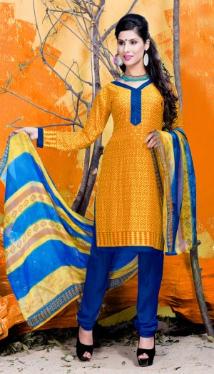 Buy THANKAR Yellow & Blue Printed Crepe Dress Material Online