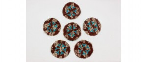 Buy  Tea Coasters  Set of 6 Blue & Maroon Online