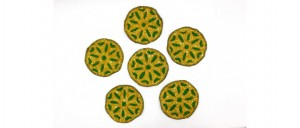Buy  Tea Coasters  Set of 6 Yellow & Green Online