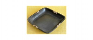Buy  Serving Tray Square Black Pottery Online