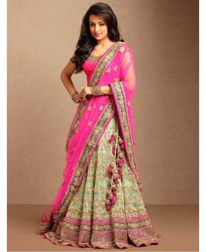 Buy Airlift Fashion Attractive Light Pista Net Semi Stitched Lehenga Choli Online