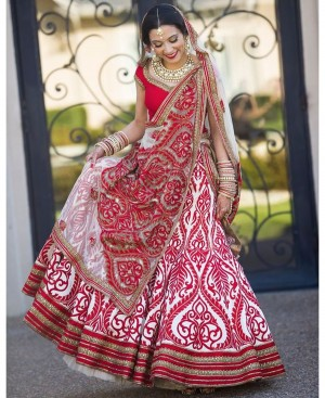 Buy Krutarth Couture Alluring White Red Silk Semi Stitched Lehenga Choli Online
